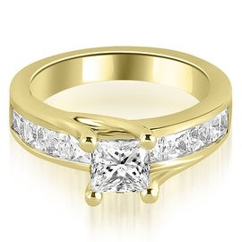 1.05 cttw. 14K Yellow Gold Princess Cut Channel Engagement Diamond Ring
