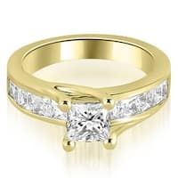 1.05 cttw. 14K Yellow Gold Princess Cut Channel Engagement Diamond Ring