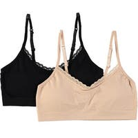 Rene Rofe Girls Lace Padded Bralettes 2-Pack - Assorted