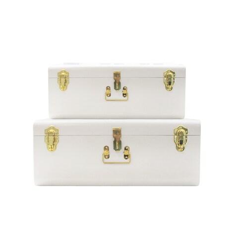 White Trunks Set of 2 - Vintage Style Storage w/Gold Finish Handles & Locks - Space Saving Organizer Home Dorm & Office Use