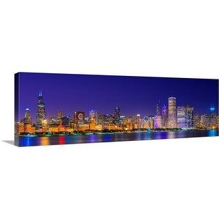 """""""Chicago skyline with Cubs World Series lights night"""" Canvas Wall Art"""