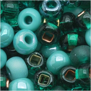 Czech Seed Beads 6/0 Mix Turquoise Fetish Blue Green (1 Ounce)