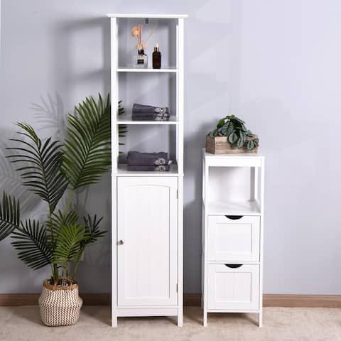 Nestfair Bathroom Storage Floor Cabinet with Door and Shelves