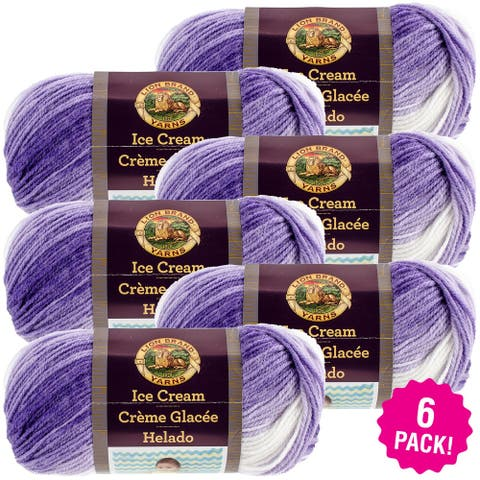 Lion Brand Ice Cream Yarn 6/Pk-Grape - Purple