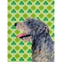 Irish Wolfhound St. Patricks Day Shamrock Portrait Flag Garden Size
