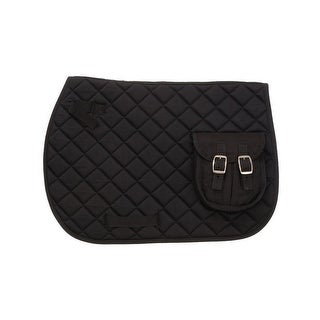 EquiRoyal Saddle Pad English Pocket Contoured Quilted Black