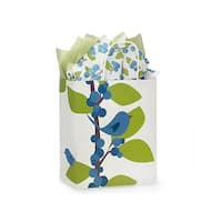 Pack Of 250, Cub Blue Bird Berries Recycled Paper Bags W/White Paper Twist Handles - Cub 8 x 4.75 x 10.25""