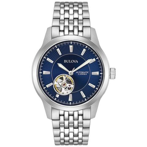 Bulova Men's 96A189 Automatic Stainless Blue Dial Bracelet Watch - Silver-Tone