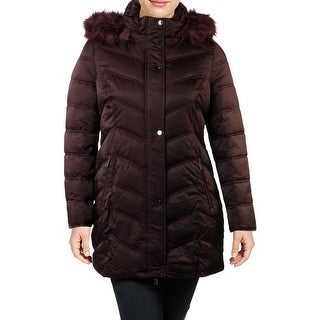 Link to Kenneth Cole New York Women's Faux Fur Trim Quilted Mid-Length Puffer Coat Similar Items in Women's Outerwear