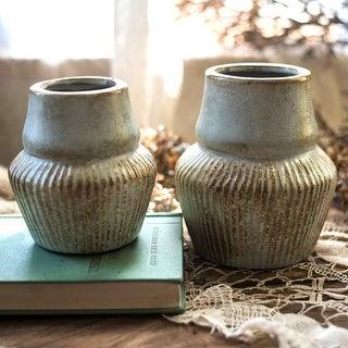 RusticReach Light Blue Underglazed Ceramic Vase
