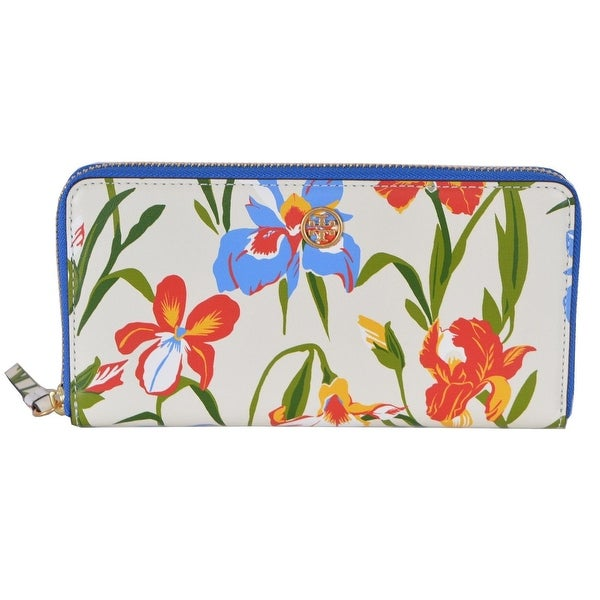 "Tory Burch Printed Iris Floral Leather Robinson Zip Around Wallet - 7.5"" x 4"""