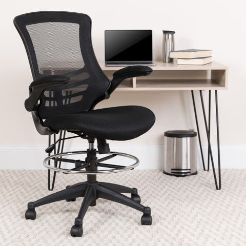 Mid-back Ergonomic Drafting Chair w/ Adjustable Foot Ring/Flip-up Arms