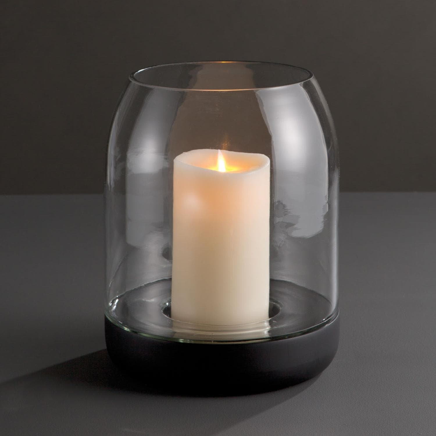 11 25 Matte Black And Clear Mango Wood Hurricane Pillar Candle Holder Overstock 16688241