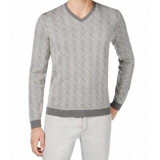 Calvin Klein NEW Gray Slim Fit Jacquard Mens Size Medium M V-Neck Silk