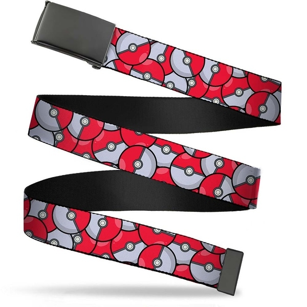 Blank Black Buckle The Poke Ball Stacked Red White Webbing Web Belt