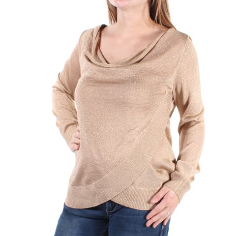 INC Womens Gold Metallic Long Sleeve Scoop Neck Faux Wrap Top Size S
