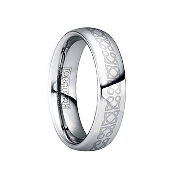 IUVENALIS Polished Tungsten Wedding Ring with Engraved Celtic Center by Crown Ring