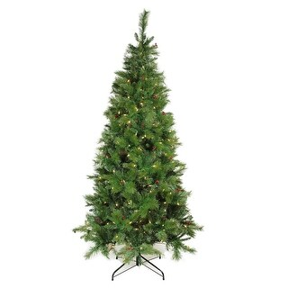 7' Pre-Lit Slim Mount Beacon Pine Artificial Christmas Tree - Multi-Color LED Lights - Green