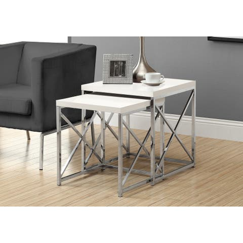Monarch 3025 Glossy White Chrome Metal Two Piece Nesting Table Set