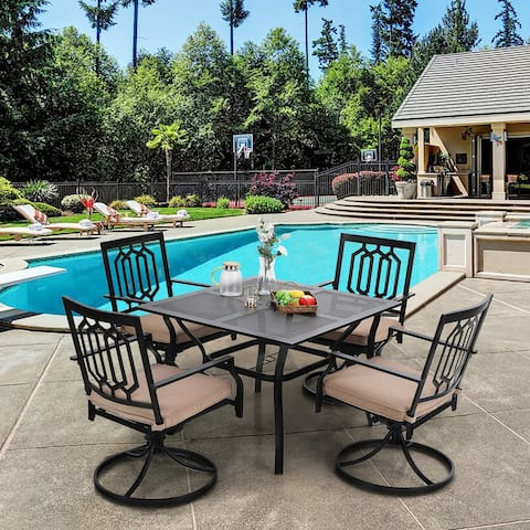 """PHI VILLA 5-Pcs Outdoor Dining Set: Steel Swivel Dining Chair with Cushion and 37"""" x 37"""" Square Patio Bistro Table"""