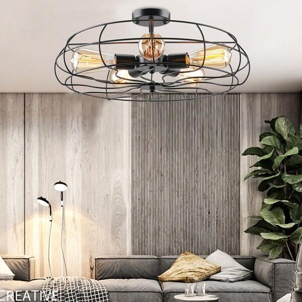 "CO-Z 19"" 5-Light Semi Flush Mount Industrial Matte Black Ceiling Light. Opens flyout."