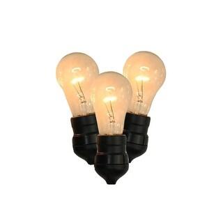 "Set of 15 Commercial Grade Adjustable Drop Length E17 ""A"" Shape Clear Christmas Lights"