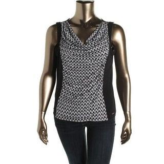 Calvin Klein Womens Pattern Drape Neck Pullover Top - S
