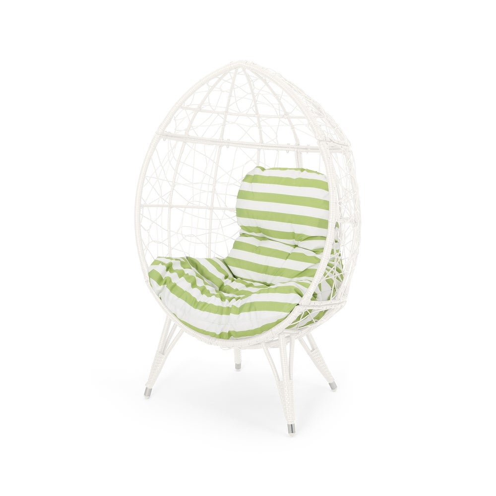 Gianni Outdoor Wicker Teardrop Chair with Cushion by Christopher Knight Home (White+Green Cushion)