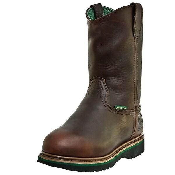 John Deere Work Boots Mens Leather MET Steel Toe Dark Brown