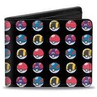 4 Pok Balls Repeat Black Bi Fold Wallet - One Size Fits most