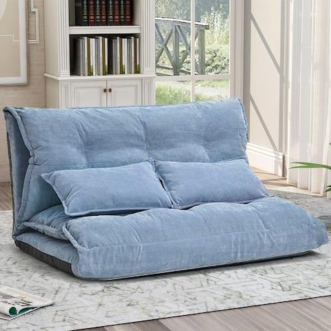 Merax Velvet Foldable Floor Sofa with Two Pillows
