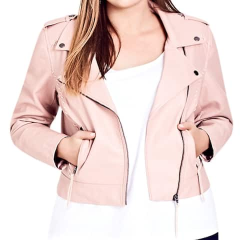 City Chic Women's Jacket Pink Size 14W Plus Motorcycle Whip Stitch