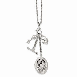 Silvertone Polished Filigree Locket and Charm Necklace - 26in