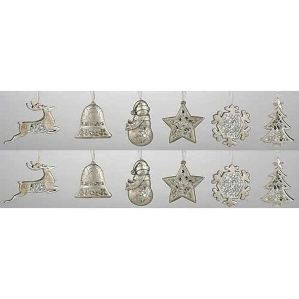 Club Pack of 12 Christmas Treasure Mosaic Holiday Symbol Ornaments
