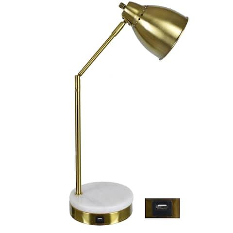 "Liam 20.25""H Marble USB Task Lamp - 22""H x 11.5""W x 7""D"
