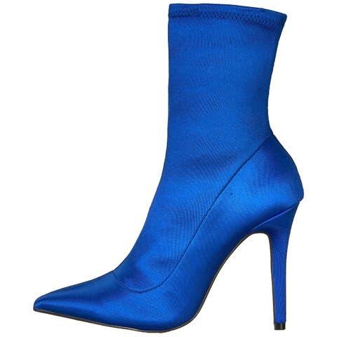 Qupid Womens Milia-152 Fabric Pointed Toe Mid-Calf Fashion Boots