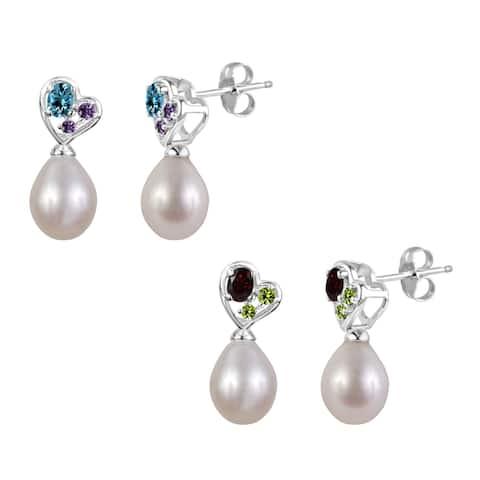 Sterling Silver Gemstone and Freshwater Cultured Pearl Tear Drop Earrings