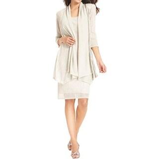 R & M Richards Womens Dress With Jacket Metallic 2PC
