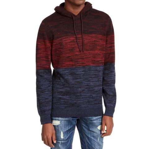 American Rag Mens Sweater Red Blue Medium M Colorblocked Marled Hoodie