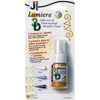 Jacquard Lumiere 3D Metallic Paint & Adhesive Blister Pk 1Oz-Bright Gold