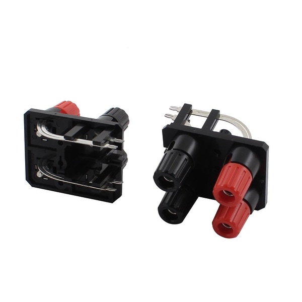 Unique Bargains 2 Pcs 2 Row 4 Position Cable Clip Socket Screw Type Speaker Terminals