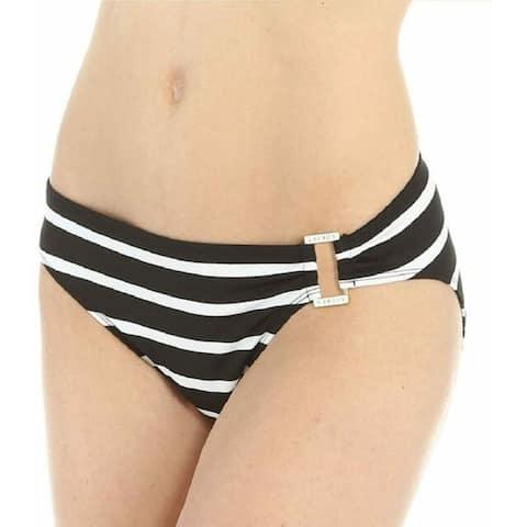 RALPH LAUREN Women's Stripe Mix Ring Front Hipster Bottoms, Black, 14