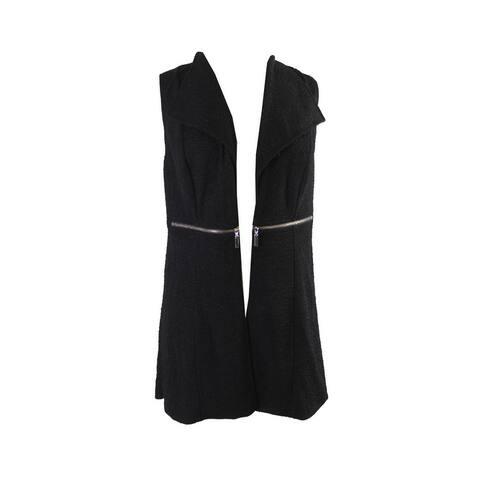 Alfani Deep Black Sleeveless Textured Lapel Vest S