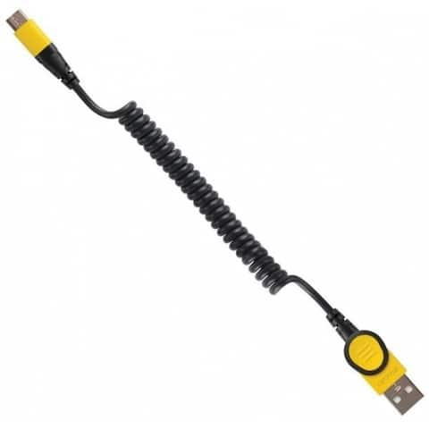 Stanley 131 9552 ST2 Coiled Micro USB Cable, Nylon, Black/Yellow
