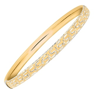 Greek Key Slip-On Bangle Bracelet in 14K Gold-Bonded Sterling Silver - Two-tone