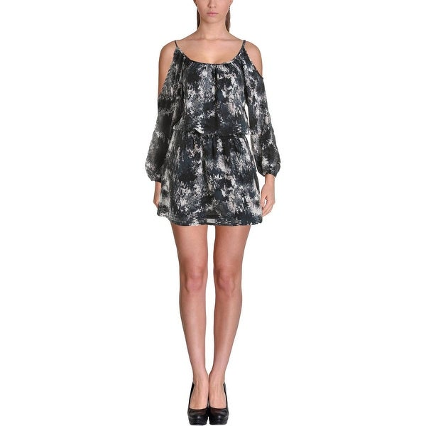 Aqua Womens Casual Dress Cold Shoulder Printed