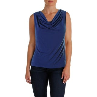 Calvin Klein Womens Petites Matte Jersey Cowl Neck Pullover Top