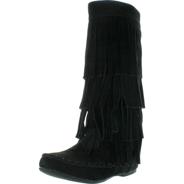 I Love Kids Ava-18K Children's 3-Layers Fringe Moccasin Style Mid-Calf Boots - Black