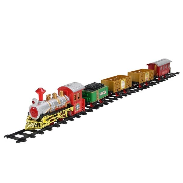 16-Piece Battery Operated Lighted and Animated Christmas Express Train Set with Sound