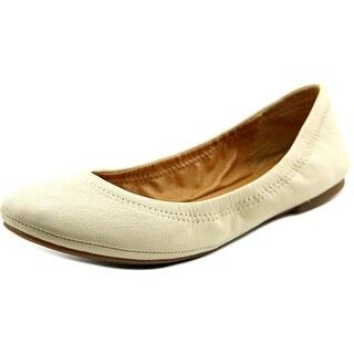 Lucky Brand LK-Emmie Women Round Toe Leather Ivory Ballet Flats